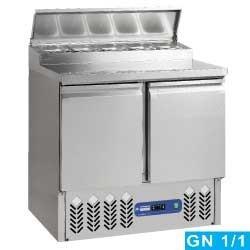 Table frigorifique 2 portes GN 1/1, 240 litres, structure réfrigérée 5x GN 1/6
