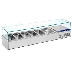 Structure réfrigérée GN 5x 1/3, 1x 1/2, avec vitre droite
