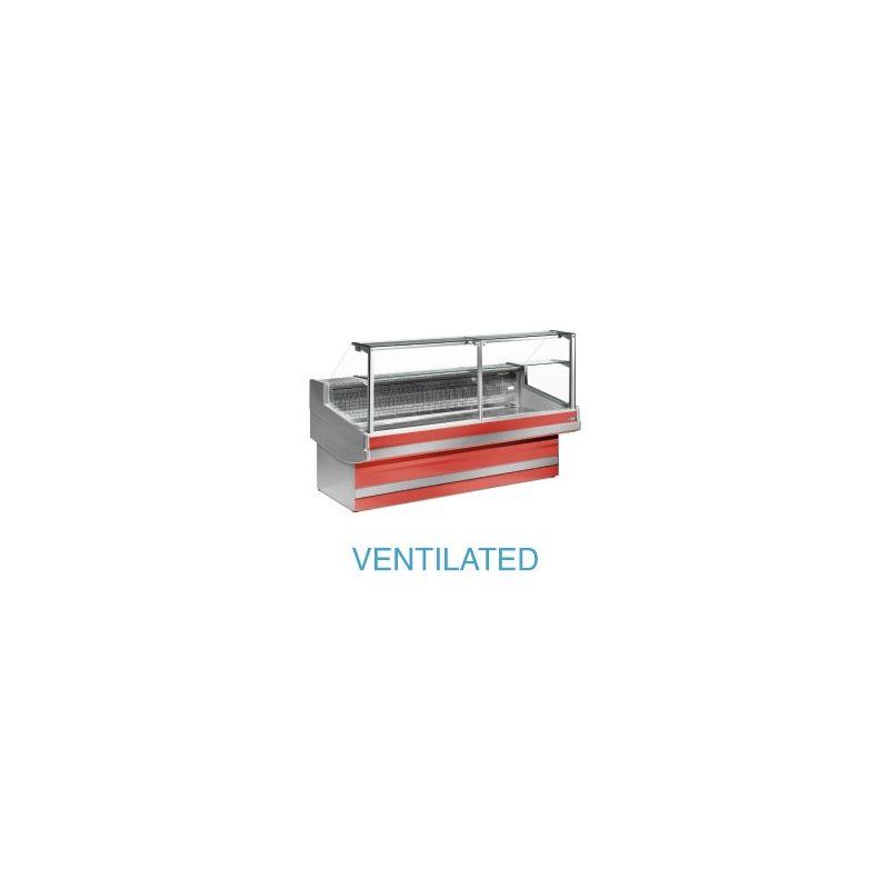 Comptoir vitrine réfrigéré à vitre droite 90° , ventilé, sans réserve