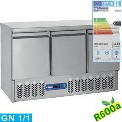 Table frigorifique compact, 3 portes GN 1/1, 380 Lit