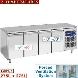 Table frigorifique et congélation, 2 témperatures, ventilée, 4 portes GN 1/1