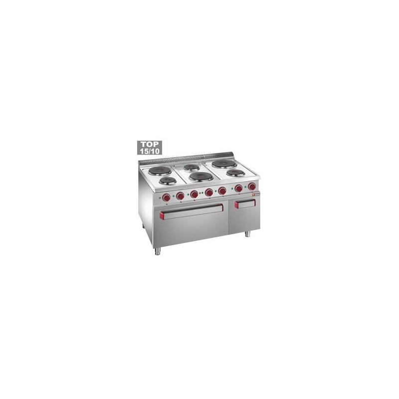 E7-6PFA11 Fourneau 6 plaques rondes, four GN 2/1 et grill électrique, armoire neutre GN 1/1