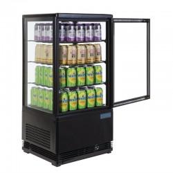 Mini Vitrine réfrigérée à Poser Noire - 4 vitres