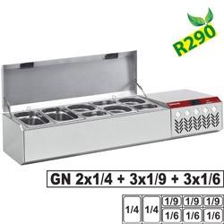 Structure réfrigérée GN 2x 1/4, 3x 1/6, 3x 1/9, avec couvercle