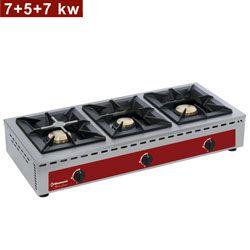 Réchaud de table - 3 feux vifs (7+5+7 kW)