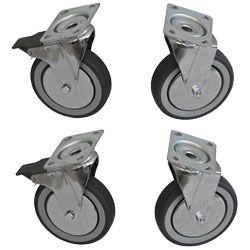 """Kit de 4 roues """"Inox"""" armoires, 2 avec freins"""