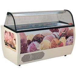 Comptoir présentoir pour crème glacée, 13 bacs 5 Lit, avec réserve