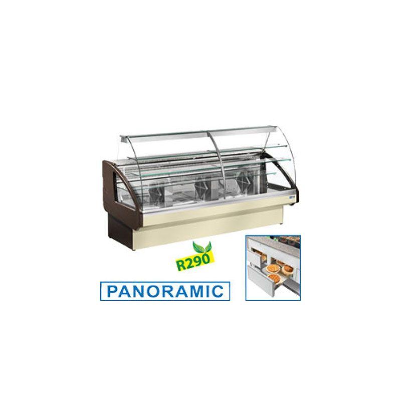 Comptoir vitrine réfrigéré, statique, chargement à tiroirs, sans réserve