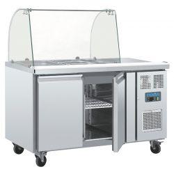 Comptoir de préparation réfrigéré GN avec pare-haleine, 2 portes, Polar
