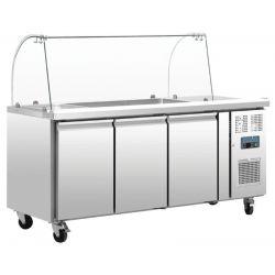 Comptoir de préparation réfrigéré GN avec pare-haleine, 3 portes, Polar