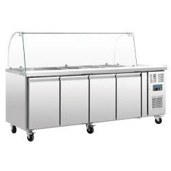 Comptoir de préparation réfrigéré GN avec pare-haleine, 4 portes, Polar