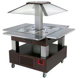 Ilot buffet - Salad bar, réfrigéré, coupole motorisé, 4x GN1/1-150 (Bois Wengé)