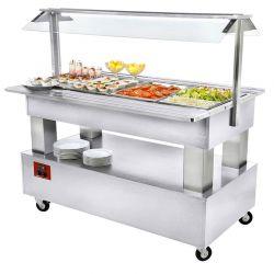 Buffet - Salad bar réfrigéré, 4x GN1/1-150 (Bois Blanc)