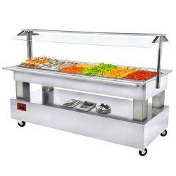 Buffet - Salad bar réfrigéré, 6x GN1/1-150 (Bois Blanc)