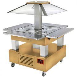 Ilot buffet - Salad bar, réfrigéré, coupole motorisé, 4x GN1/1-150 (Bois Chêne clair)