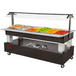 Ilot buffet - Salad bar, réfrigéré, 4x GN1/1-150 (Bois Acajou)