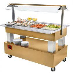 Buffet - Salade bar réfrigéré, 4x GN 1/1-150 (Bois Chêne clair)