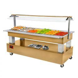 Buffet - Salade bar réfrigéré, 6x GN 1/1-150 (Bois Chêne clair)