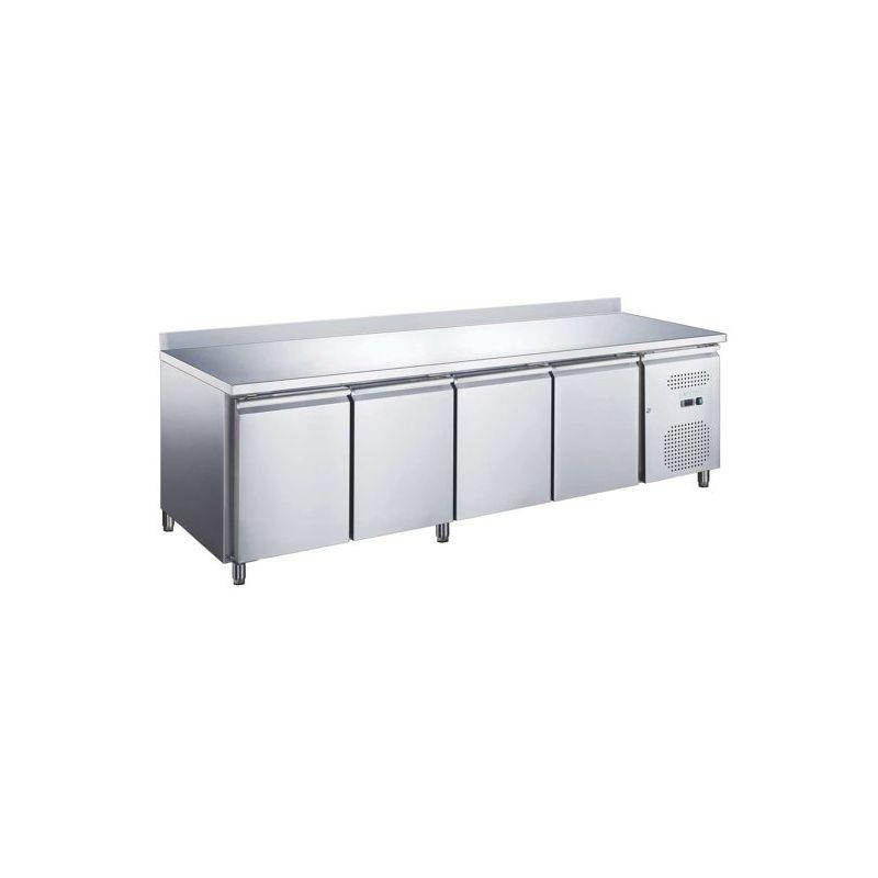 Table réfrigérée positive AVEC dosseret, 4 portes, afi