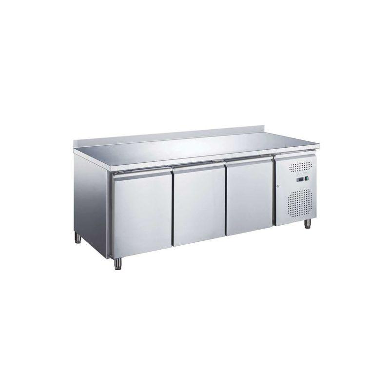 Table réfrigérée positive AVEC dosseret, 3 portes, afi