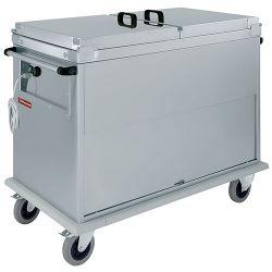 Chariot bain marie 2x GN 1/1, 2 T°c, couvercles, armoire porte basculante