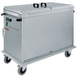 Chariot bain marie 3x GN 1/1, 3 T°c, couvercles, armoire porte basculante