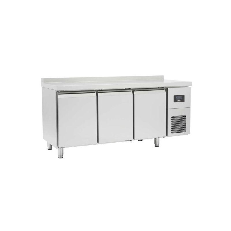 Table réfrigérée négative avec dosseret, 3 portes pleines, afi