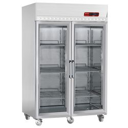 Armoire frigorifique ventilée 1400 Lit. 2 portes vitrées (GN 2/1), sur roues
