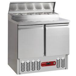 Table préparation frigorifique 2 portes GN 1/1, 230 Lit + structure réfrigérée 5x GN1/6-150 mm